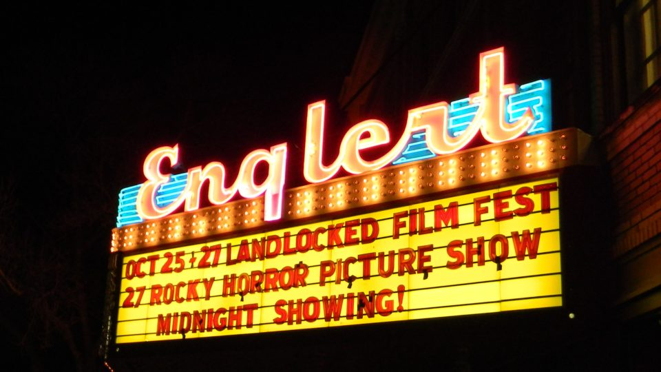 Outside the Englert Theater before the midnight showing of the Rocky Horror Picture SHow.