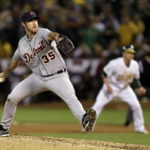 Justin Verlander fires a pitch against Oakland. Credit to Marcio Jose Sanchez/The Associated Press.
