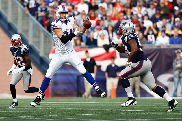 Scott Chandler in last week's game at New England. (Jared Wickerham/Getty Images North America)