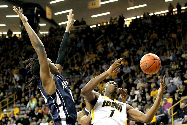 Melsahn Basabe battles for the ball against Penn State at Carver-Hawkeye Arena. Iowa won 76-67. (Benjamin Roberts/ Iowa City Press-Citizen)