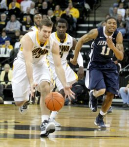 Eric May grabs a lose ball against Penn State in Iowa City. (Benjamin Roberts/ Iowa City Press-Citizen)