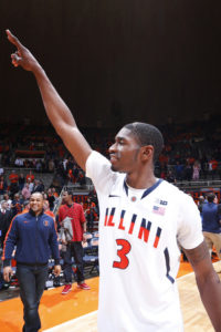 Brandon Paul celebrates after Illinois upset #1 Indiana. (Joe Robbins/Getty Images North America)