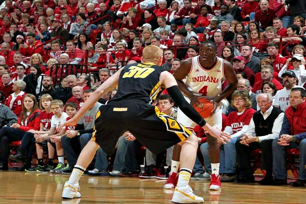 Iowa's Aaron White guards Hoosier Victor Oladipo, Saturday, March 2nd, 2013 in Bloomington, Indiana. (Brian Spurlock/USA Today)