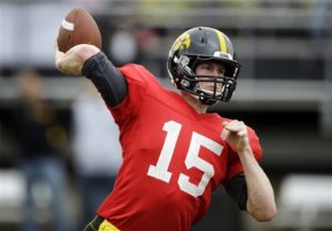 QB prospect Jake Rudock in the Hawkeye Spring Game (AP Photo/Charlie Neibergall)
