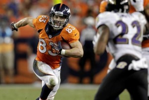 Wes Welker has 9 receptions for 67 yards and 2 touchdowns in his first game with the Denver Broncos. (Photo: Joe Mahoney, AP)