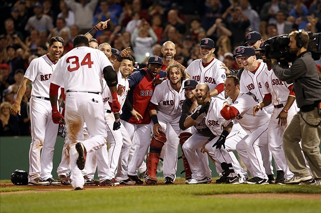 Red Sox Celebrate David Ortiz' Walkoff Homer (Source: Greg M. Cooper, USA Today Sports)