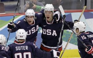 Zach Parise (left) became a well-known athlete after his 2010 Gold Medal Game goal vs Canada. (AP Photo/Matt Slocum)