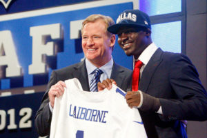 The Dallas Cowboys traded up eight spots in the 2012 NFL Draft to select cornerback Morris Claiborne. (AP Photo)