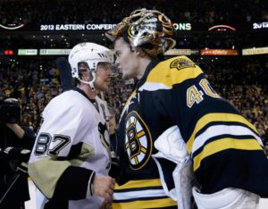 Crosby shakes hands with Tuukka Rask, the victorious Bruins goaltender (Source: AP/Elise Amendola)