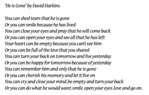 """He is Gone"" by David Harkins in its entirety."