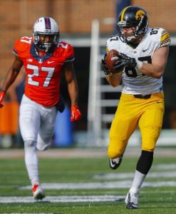 Jake Duzey added 110 yards as the Iowa offense put up 587 total yards. (Photo by Michael Hickey/Getty Images)