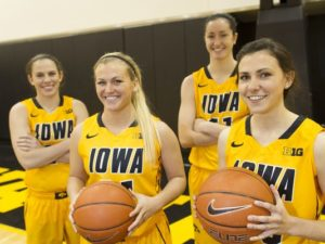 Iowa's 2014 Seniors (Left to right) Logic, Dixon, Doolittle, Reynolds (Photo: David Scrivner / Iowa City Press-Citizen)