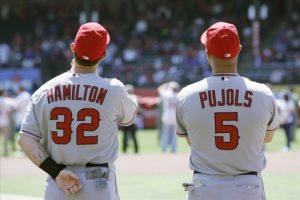 Albert Pujols and Josh Hamilton stand together before the game. (Photo Credit: Tim Heitman-USA TODAY Sports)