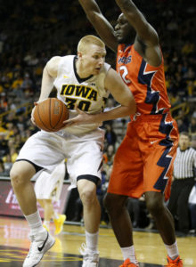 Aaron White (30) looks to score on Illinois. Photo Credit: Darren Miller/hawkeyesports.com