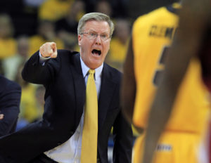 Fran McCaffery screaming at one of his players