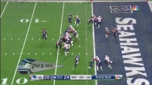 Broadcast angle of Malcolm Butler about to jump the route and intercept the ball
