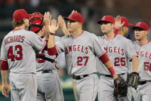 The Los Angeles Angels celebrate a victory. (Photo Credit: Leon Halip/Getty Images North America)