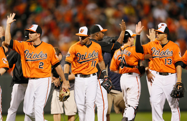 The Baltimore Orioles celebrate a victory. (Photo Credit: Rob Carr/Getty Images North America)
