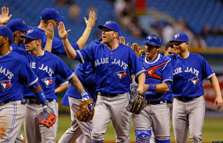The Toronto Blue Jays celebrate a victory. (Photo Credit: Getty Images)