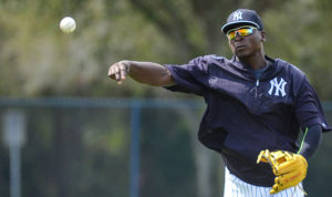Didi Gregarious throws a ball to first during practice. (Photo Credit: Presswire)