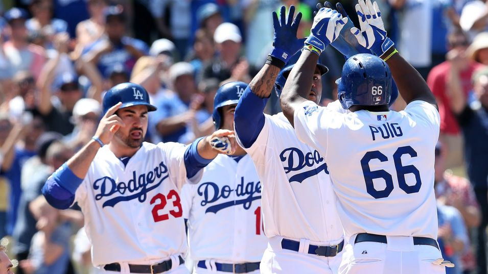 The Dodgers celebrate a home run. (Photo Credit: Stephen Dunn / Getty Images North America)