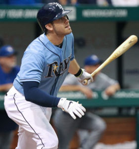 Evan Longoria watches the ball after he drives it deep. (Photo Credit: Kim Klement/US Presswire)