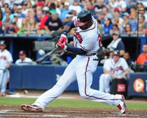 Jason Heyward drives a ball deep. (Photo Credit: Scott Cunningham/Getty Images North America)