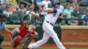 Lucas Duda watches the ball soar. (Photo Credit: Brad Penner-USA TODAY Sports)
