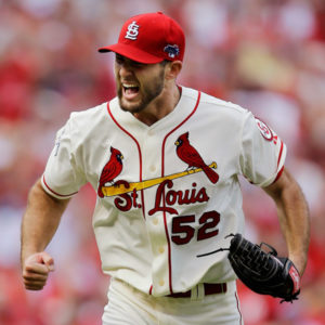 Michael Wacha gets pumped up, after a strikeout. (Photo Credit: AP Photo/Jeff Roberson)
