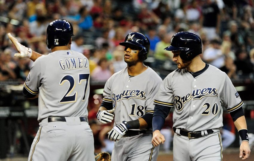 The Milwaukee Brewers celebrate a run scored. (Photo Credit:Matt Kartozian-USA TODAY Sports)