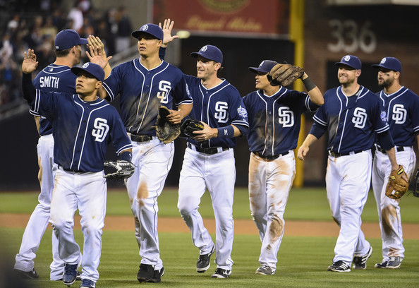 The San Diego Padres celebrate a victory.(Photo Credit Denis Poroy/Getty Images North America)