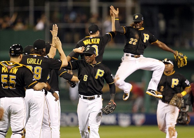 The Pittsburgh Pirates celebrate a victory! (Photo Credit: Charles LeClaire-USA TODAY Sports)