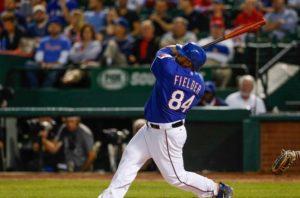 Prince Fielder drives a ball deep. (Photo Credit: Kevin Jairaj-USA TODAY Sports)