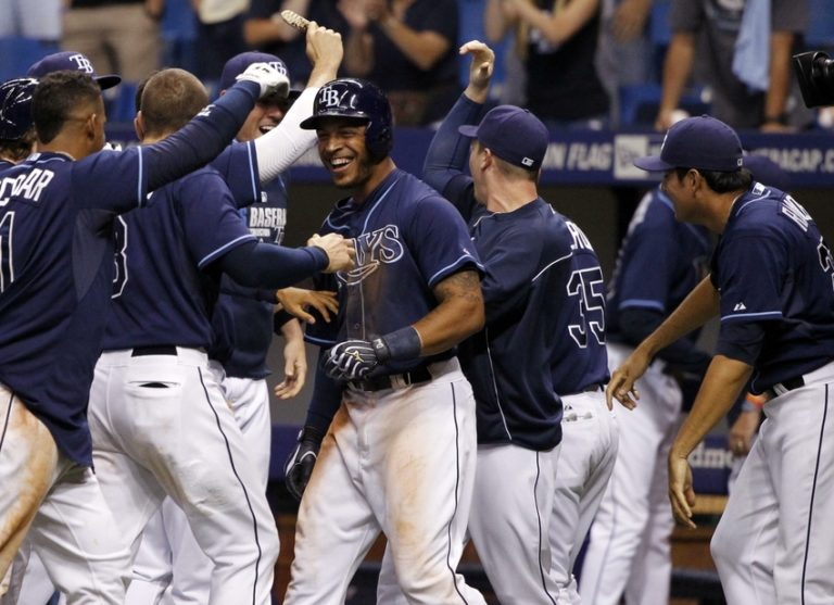 The Tampa Bay Rays Celebrate a victory. (Photo Credit: Kim Klement-USA TODAY Sports)