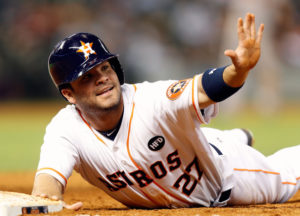 Jose Altuve asks for time after stealing second base. (Photo Credit: mlbscoutingreports.com)