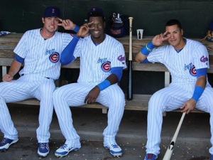 """The Cubs """"big three"""" of Kris Bryant (L), Jorge Soler (middle), and Javier Baez (R) have Cubs fans excited about the upcoming season"""