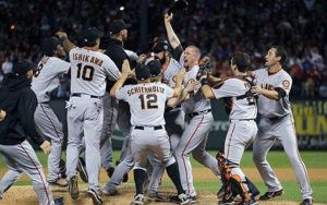 The Giants celebrate their victory. (Photo Credit: Reuters)