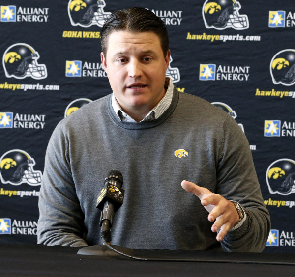 Brian Ferentz  speaks to the media during a spring football press conference.(Darren Miller/hawkeyesports.com)