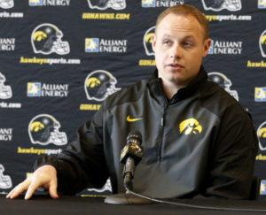 Seth Wallace speaks to the media during a spring football press conference.(Darren Miller/hawkeyesports.com)
