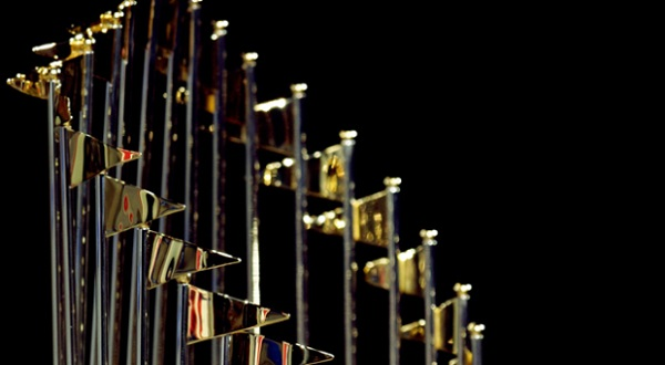 The World Series Trophy. (Photo Credit: Jamie Squire/Getty Images)