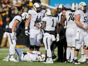 Purdue quarterback David Blough injured on a hit from Jordan Lomax. (Photo Credit: AP Photo)