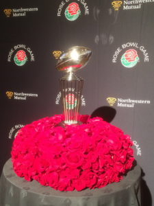 Rose Bowl Trophy in a bed of roses