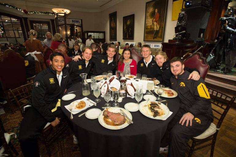 The Iowa Hawkeyes enjoying the 60th annual Beef Bowl. (Photo Credit: Lawry's Beef Bowl Facebook page)