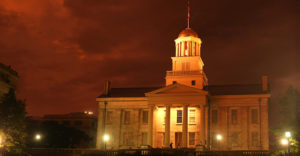 The Old Capital Building is shown at sunset on June 30, 2014 after a storm in Iowa City, Iowa. (The Daily Iowan/Joshua Housing)