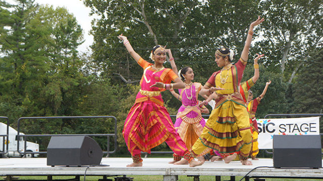 The young dancers from the Noopur Dance Troupe centering themselves on stage for a complex part of their performance, the dancers ranging from different ages. Taken at the Cultural Diversity Festival at Hubbard Park on Sunday, October 4, 2015. (The Daily Iowan/Rebecca Bright)