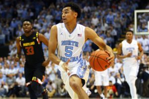 Marcus Paige dribbles the ball up court against the Maryland Terrapins - Image taken from DailyTarHeel.com