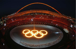Olympic rings at opening ceremony in Athens