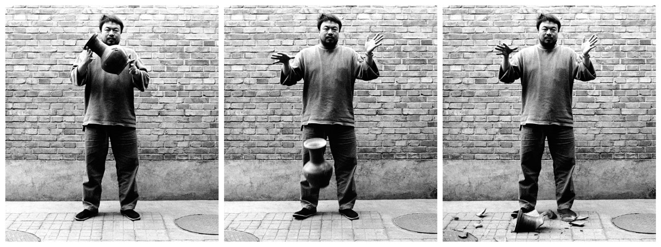 Ai Weiwei dropping a centuries old urn as a political statement Image via: www.artblart.com