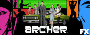 Archer's original core cast, from left to right - Cheryl/Carol, Cyril, Archer, Malory, and Lana. Courtesy of flashfloodmedia.net