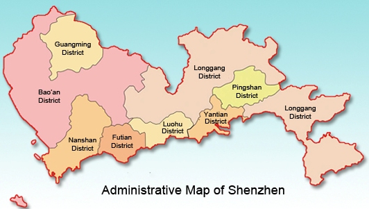Shenzhen district's map courtesy of shenzhenshopper.com